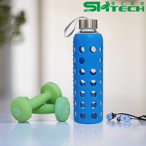 Hot Sale Reusable Glass Water Bottles with Stainless Steel Lid SH-3011